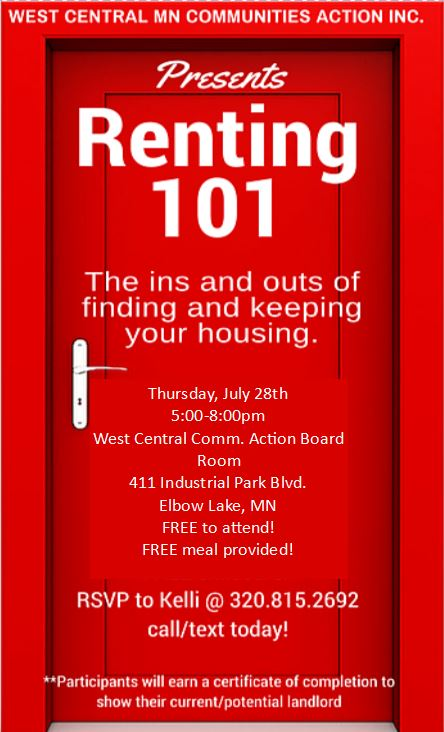 Renting 101 Grant Co. flyer July 28